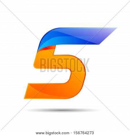 Number five 5 logo orange and blue color with fast speed lines. Vector design for banner, presentation, web page, card, labels or posters.