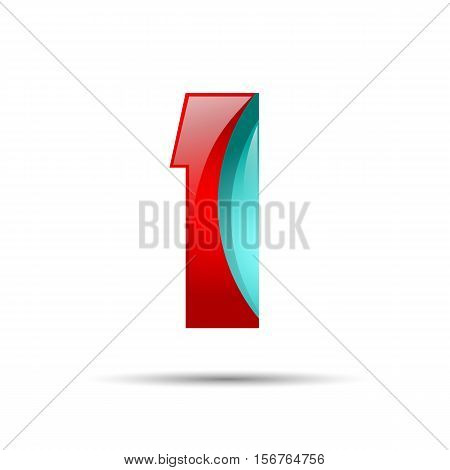 Number one 1 colorful 3d volume icon. Vector design for banner, presentation, web page, card, labels or posters.