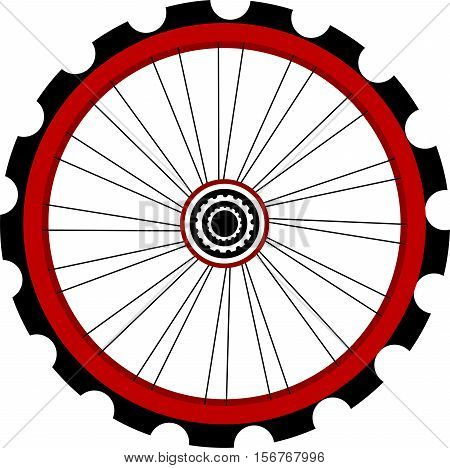 black and red Bicycle wheel isolated on white