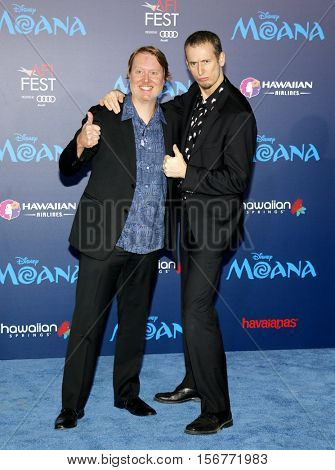 John Musker and Ron Clements at the AFI FEST 2016 Premiere of 'Moana' held at the El Capitan Theatre in Hollywood, USA on November 14, 2016.