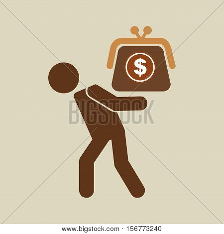 silhouette man financial crisis savings dollar vector illustration eps 10