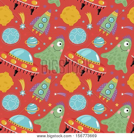 Space aliens funny cartoon seamless pattern. Cute one eye jelly creature, flying saucer, spaceship, stars, planets, comets, moon vector illustrations on red background. For wrapper, greeting cards