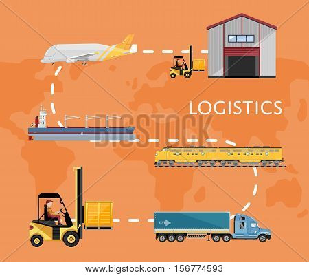 Air cargo trucking, rail transportation, maritime shipping vector illustration. International logistic company worldwide operations with cargo distribution shipment and transportation. Global network