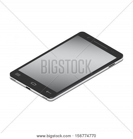 Realistic smartphone cellular in isometry on a white background. Vector illustration.