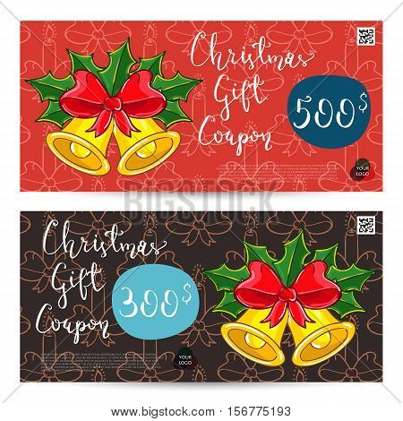 Christmas gift voucher template. Gift coupon with Xmas attributes and prepaid sum. Christmas bells with holly leaves and ribbon bow cartoon vectors. Merry Christmas and Happy New Year greeting card