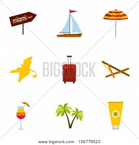 Attractions of Miami icons set. Flat illustration of 9 attractions of Miami vector icons for web