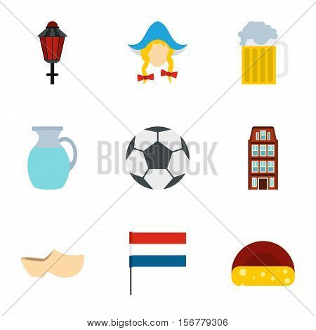 Attractions of Holland icons set. Flat illustration of 9 attractions of Holland vector icons for web