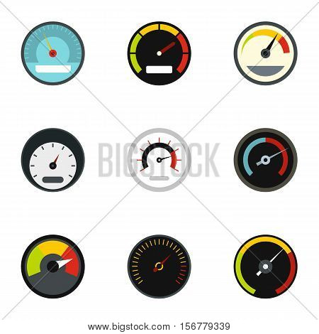 Speedometer icons set. Flat illustration of 9 speedometer vector icons for web