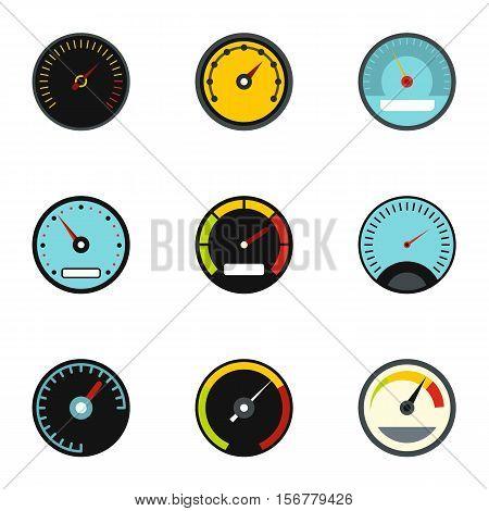 Types of speedometers icons set. Flat illustration of 9 types of speedometers vector icons for web