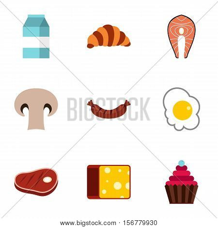 Breakfast icons set. Flat illustration of 9 breakfast vector icons for web
