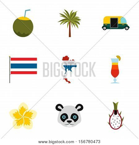 Attractions of Thailand icons set. Flat illustration of 9 attractions of Thailand vector icons for web