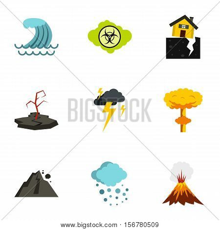 Natural disasters icons set. Flat illustration of 9 natural disasters vector icons for web