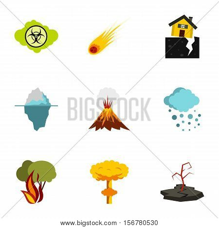 Disaster icons set. Flat illustration of 9 disaster vector icons for web