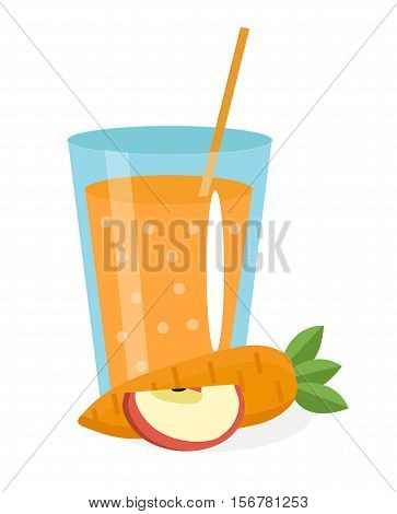 Carrot and apple juice in a glass. Fresh carrot and apple juice isolated on white background. Fresh carrot juice icon. Carrot-apple drink. Carrot-apple cocktail smoothie. Vector illustration