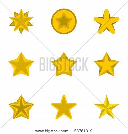 Figure star icons set. Flat illustration of 9 figure star vector icons for web