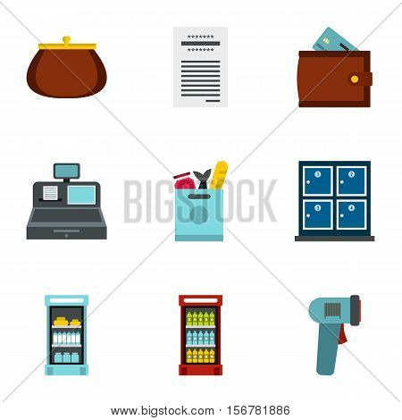 Purchase in shop icons set. Flat illustration of 9 purchase in shop vector icons for web