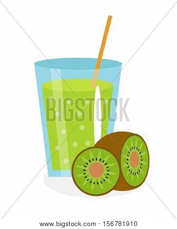 Kiwi juice in a glass. Fresh kiwi juice isolated on white background. Fresh fruit and juice icon. Kiwi fruit drink, fruit compote. Kiwi cocktail, smoothie. Vector illustration