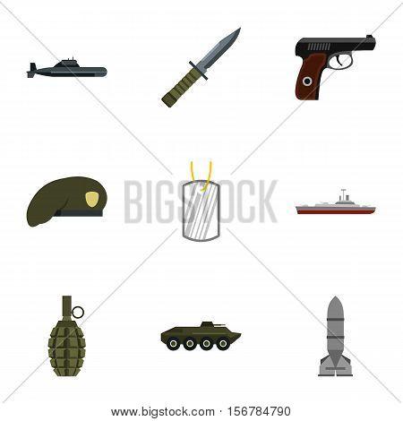 Military defense icons set. Flat illustration of 9 military defense vector icons for web