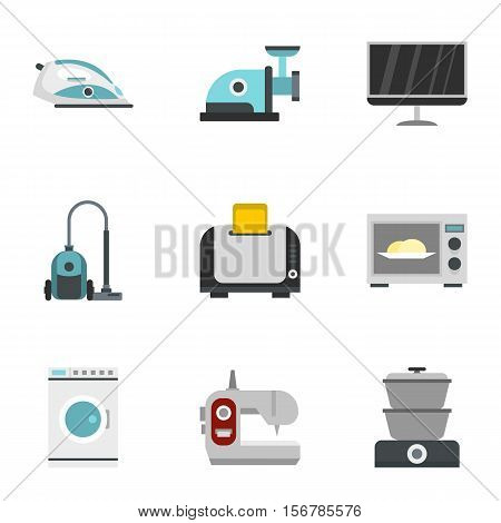 Technique icons set. Flat illustration of 9 technique vector icons for web