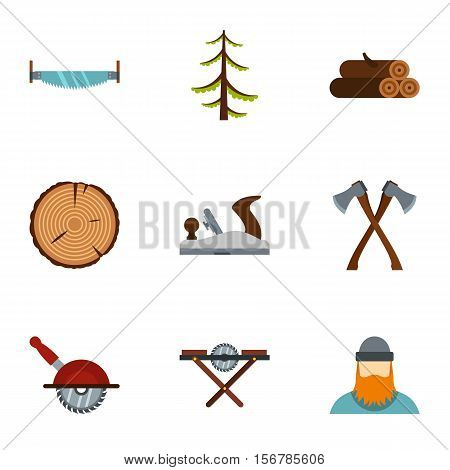 Cutting down trees icons set. Flat illustration of 9 cutting down trees vector icons for web