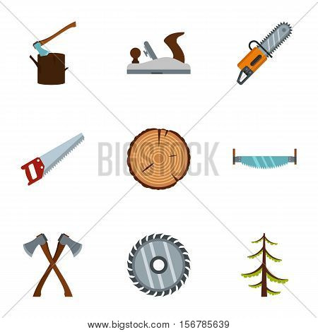 Sawing woods icons set. Flat illustration of 9 sawing woods vector icons for web