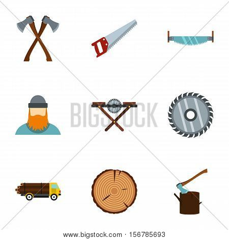 Sawing icons set. Flat illustration of 9 sawing vector icons for web