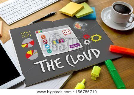The Cloud Storage  Web Online Cloud Computing, Network Cloud Service, Technology Design Modern