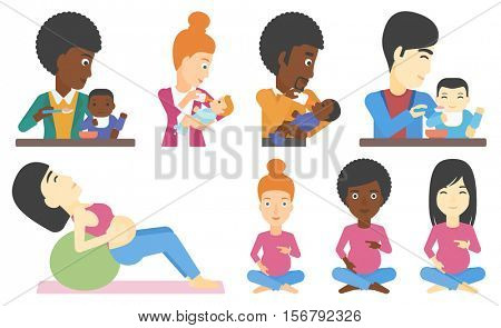 Pregnant woman holding her hands on belly. Pregnant woman touching belly. Young happy pregnant woman doing exercises on fitball. Set of vector flat design illustrations isolated on white background.