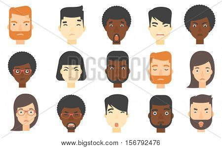 Set of people of various ethnicity expressing negative emotions. Human faces with negative emotions. Evil man looking aggressively. Set of vector flat design illustrations isolated on white background