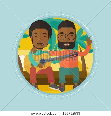 African-american happy friends sitting on a log and playing a guitar. Two cheerful friends playing a guitar on the tropical beach. Vector flat design illustration in the circle isolated on background.