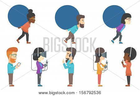 Young gamer wearing virtual reality headset and gamer gloves. Gamer using virtual reality glasses and playing virtual video game. Set of vector flat design illustrations isolated on white background.