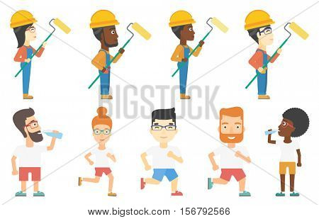 Painter in uniform holding a paint roller. Painter at work. Painter in hard hat and overalls. House painter painting with roller. Set of vector flat design illustrations isolated on white background.