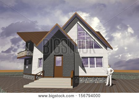 Residential private house a small modest architecture
