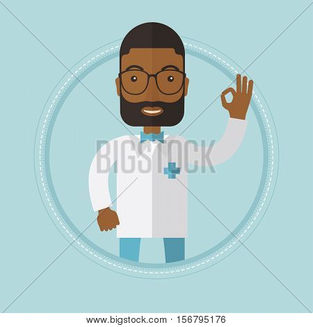 An african-american happy doctor showing ok sign. Smiling friendly doctor in medical gown gesturing ok sign. Vector flat design illustration in the circle isolated on background.