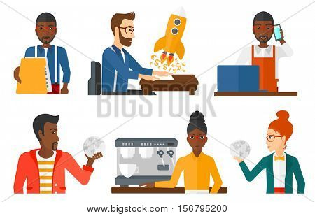 Office worker holding folder with documents. Office worker giving a folder with finished files to someone. Paperwork concept. Set of vector flat design illustrations isolated on white background.