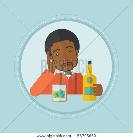 An african-american man in depression drinking alone at the bar. Depressed man sitting at the bar and drinking whiskey. Vector flat design illustration in the circle isolated on background.