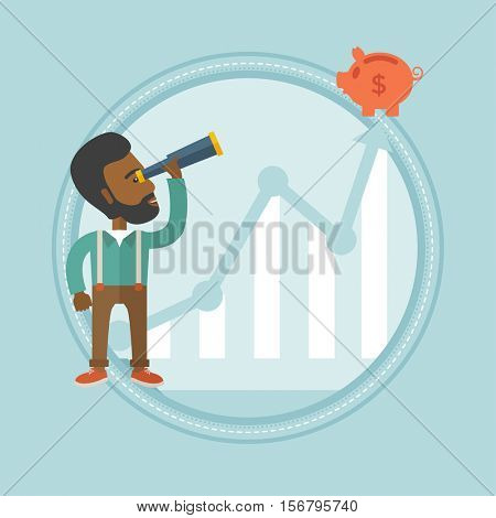 African-american businessman looking through spyglass at piggy bank standing on the top of growth graph. Business growth concept. Vector flat design illustration in the circle isolated on background.