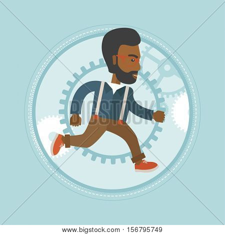 African-american businessman running on gear background. Smiling businessman running in a hurry. Businessman running to success. Vector flat design illustration in the circle isolated on background.