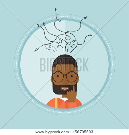 An african-american inspired businessman during decision making process. Decision making process and business idea concept. Vector flat design illustration in the circle isolated on background.