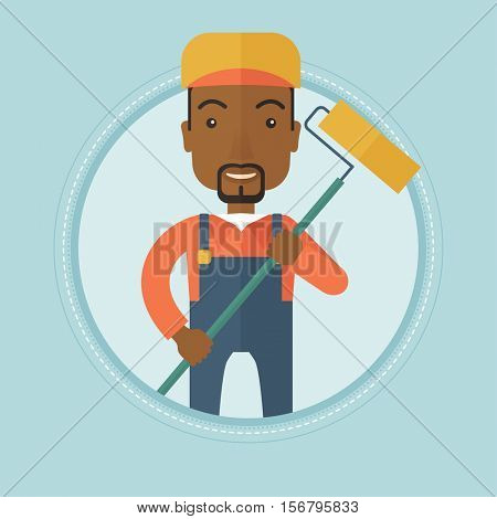 African-american smiling painter in uniform holding a paint roller in hands. Painter at work. House painter painting with roller. Vector flat design illustration in the circle isolated on background.