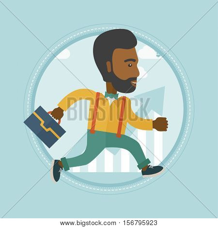 An african businessman running along the growth graph. Business growth concept. Man moving to success and business growth. Vector flat design illustration in the circle isolated on red background.