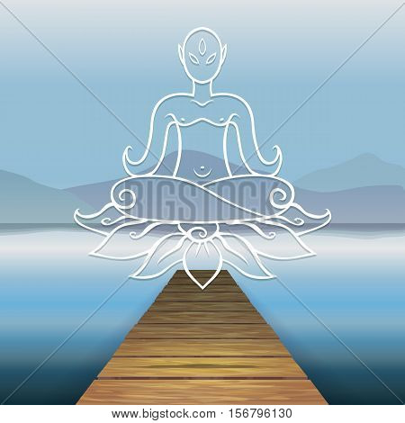 Vector color image of a wooden pier on the background of the river water, lake, sea, ocean. The background mountains hills. Relaxation. Wooden pier. Levitating Buddha, lotus, Buddhism.