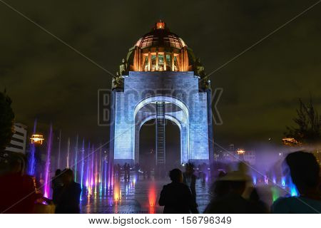 Monument to the Mexican Revolution (Monumento a la Revolución Mexicana). Located in Republic Square Mexico City. Built in 1936. Designed in the eclectic Art Deco and Mexican socialist realism style.