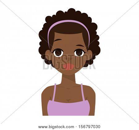 Afro american girl vector illustration.