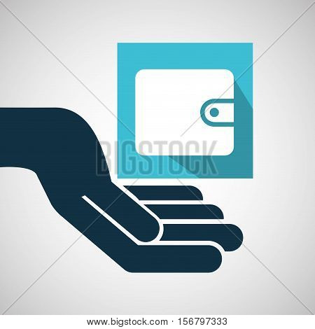 concept e-commerce hand with wallet money vector illustration eps 10