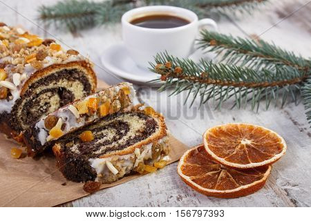 Poppy Seeds Cake, Cup Of Coffee And Spruce Branches, Dessert For Christmas