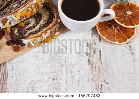 Poppy Seeds Cake And Cup Of Coffee, Dessert For Christmas