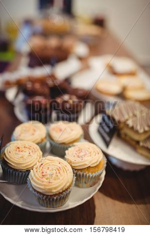 Close-up of chocolate cupcakes at counter in cake shop