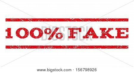 100 Percent Fake watermark stamp. Text caption between parallel lines with grunge design style. Rubber seal stamp with dirty texture. Vector red color ink imprint on a white background.