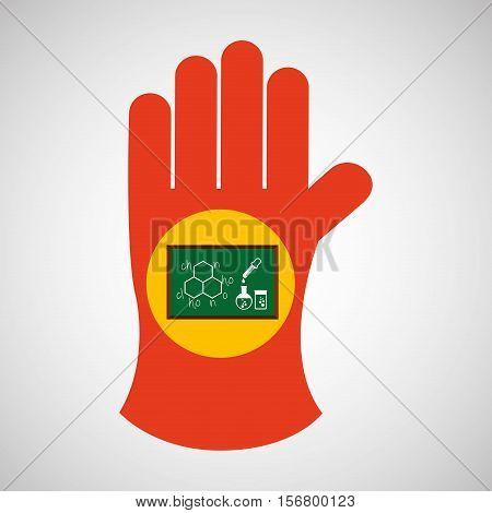 sciencie glove and laboratory board icon vector illustration eps 10
